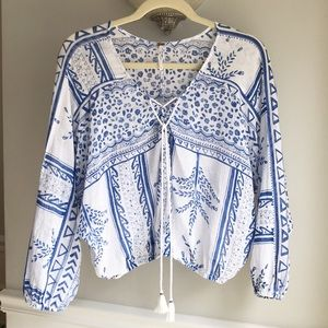 Free People Blue and White Blouse sz XS